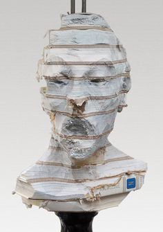 Wim Botha Witness series paper bust 2014 Galerie Jette Rudolph Berlin Untitled (Witness Series 24), 2014 carved encyclopedia, steel