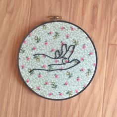 "Hoop Art ""Take My Hand"" • Embroidered Hand on Floral Fabric • Embroidery Wall Hanging / Home Decor • 7"" Hoop Frame by loudmouthmarket on Etsy https://www.etsy.com/listing/475995903/hoop-art-take-my-hand-embroidered-hand"