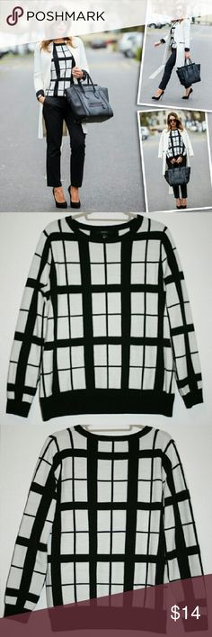 Black & White Windowpane Sweater This sweater is a classic and timelessly stylish! It can easily be dressed up or down. It has been preloved, and there is some slight pilling. If you look really closely, you might also find some light spots on the front bottom left (shown in last picture). Overall, this is in good used condition, and the price is lower to reflect. The fabric is 100% acrylic. Forever 21 Sweaters Crew & Scoop Necks