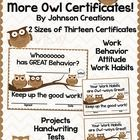 """Use these cute owl certificates to reward and reinforce your students' efforts. There are 13 certificates in 2 sizes- 8.5"""" x 11"""" and 2 per 8.5"""" x 1..."""
