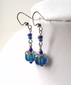 Silver filigree and blue cane glass cube dangle by PinkCupcakeJC, $8.00