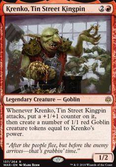 Krenko, Tin Street Kingpin uit War of the Spark. Het grootste assortiment losse Magic: the Gathering (MtG) kaarten vind je bij Bazaar of Magic. Goblin King, Thing 1, Cool Deck, Legendary Creature, Magic The Gathering Cards, Alternative Art, Magic Cards, Wizards Of The Coast, Mtg