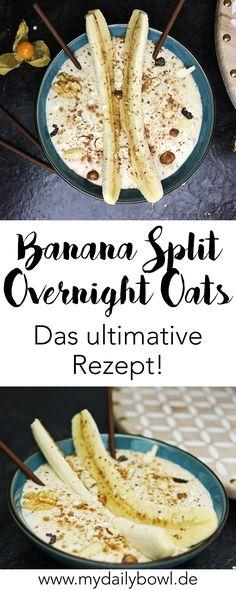 Vegane Banana Split Overnight Oats mit Nüssen. Ein reichhaltiges und gesundes Frühstück.