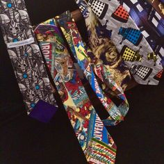 I finally got more of my Doctor Who fabrics made into ties! And snuck one marvel comics time in the picture.