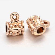 10pcs Column Bail Beads Alloy Hanger Links Rose Gold Unfading Jewelry Making DIY