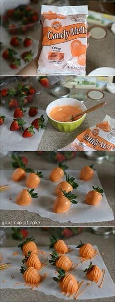 Strawberries disguised as carrots for Easter treat