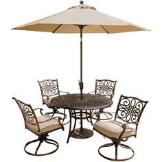 Traditions 5-Piece Dining Set with Swivel Chairs and Umbrella