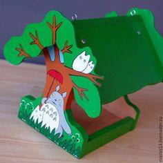 "Купить Кормушка ""Тоторо"" - кормушка, тоторо, кормушка для птиц, скворечник, набор для творчества, аниме, дерево"