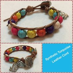 Boho Chic Leather-wrapped bracelet - Synthetic Mult-colored Turquoise Beads
