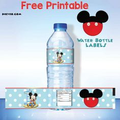 New Free Printable Mickey Mouse Water Bottle Label Printable Water Bottle Labels, Printable Labels, Free Printables, Labels Free, Mickey Mouse Water Bottle, Mickey Mouse 1st Birthday, Elmo Birthday, Baby Mickey, Make Your Own Labels