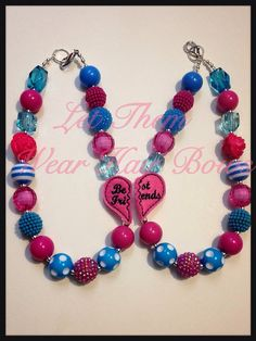 Turquoise and Hot Pink BFF Best Friends, Sisters Chunky Bead Necklace Set for Little Girls, Kids, Toddler, Teen, Trendy Gifts Big Little Sis on Etsy, $25.00