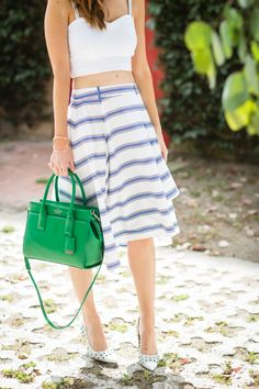 Feminine and nautical blue and white spring summer outfit on M Loves M Los Angeles fashion blogger @Mara Ferreira