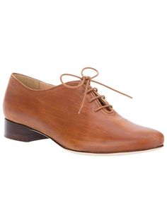 Brown leather shoe from Alessio Spinelli featuring a round toe, a top lace up fastening, a wood stained effect, a contrating dark brown short stacked wooden heel and a leather sole.
