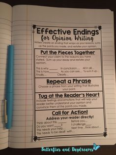 Writing Unit Effective Endings for Opinion Writing Notebook Anchor Chart part of Opinion Writing Unit {My Opinion Matters!} Writing Notebook Anchor Charts, Anchor Charts for the Classroom, Rubric, and Checklists Argumentative Writing, Informational Writing, Persuasive Writing, Teaching Writing, Essay Writing, Paragraph Writing, Teaching Ideas, Kindergarten Writing, Literary Essay