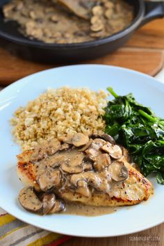 Slimming Eats Chicken with Creamy Mushroom Sauce - gluten free, dairy free, paleo, Whole30, Slimming World and Weight Watchers friendly