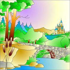 Resultado de imagen para dibujo de un pueblo  al lado de montaña