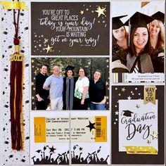Senior Scrapbook Ideas, School Scrapbook Layouts, Album Scrapbook, Scrapbook Layout Sketches, Scrapbook Journal, Scrapbook Supplies, Scrapbooking Layouts, Dog Scrapbook, Graduation Album