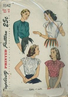 An original ca. 1946 Simplicity Pattern 1542.  MISSES' AND WOMEN'S BLOUSE: The collarless neckline releases front fullness and is finished with binding. The back neck opening fastens with a single button. The raglan sleeves may be three-quarter or extended shoulder length. In Style II, braid outlines the sleeves and a small neat bow finishes the neckline. A large soft bow trims the neck in Style IV. Also issued with a different envelope but same number.