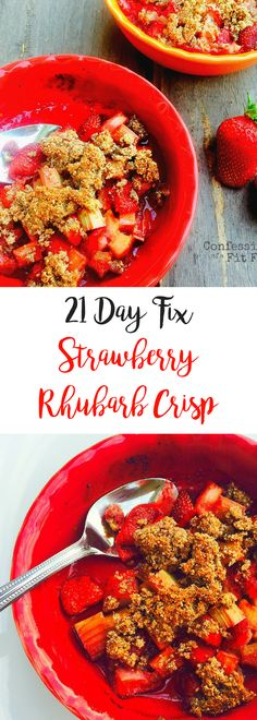 Meet my latest obsession. This is serious, you guys. I mean, I have always been obsessed with strawberry rhubarb pie, but knowing it's not the healthiest option, it's not something I eat everyday. This I might be eating everyday until the Strawberry Rhubarb Crisp, Rhubarb Pie, Strawberry Desserts, Strawberry Rhubarb Recipes Healthy, 21 Day Fix Diet, 21 Day Fix Meal Plan, Healthy Snacks, Healthy Eating, Healthy Recipes
