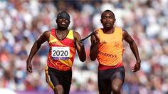 Jose Sayovo Armando of Angola and his guide qualified for the final of the men's - after finishing first in the second semi-final on Day 10 of the London 2012 Paralympic Games at the Olympic Stadium. Semi Final, 100m, The Man, Finals, Olympics, Athlete, Two By Two, London, Games