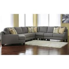 Chamberly 5-Piece Sectional with LAF Cuddler in Alloy