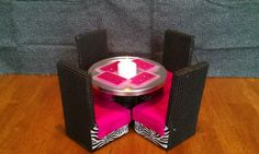 Barbie Furniture- Dining Table & Chairs - Pink Zebra Set