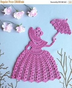 Crochet Crinoline Lady Doily with an umbrella Set off 1  Victorian Theme Crinoline Girl Doily. Used material; Cotton yarn.  There are of many colours and hues. In the case of buying please mention the colour. You can order it with the colour you prefer.  Size: 7.8 inches (20cm)  Thank you for visiting my shop. If you have any questions please contact me. Handmade by Sirik.