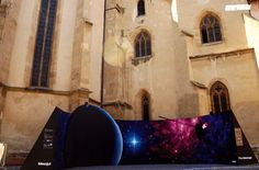A 180° Panoramic Mural As A Tribute Celebrating The 39th Anniversary Of Nasa's Voyager 1 Spacecraft made and painted by The Orion