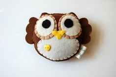 sewing inspiration - Eco Friendly Plush Owl Toy In Brown With Yellow Heart. $15.00, via Etsy.