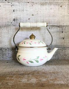 Teapot Enamel Teapot Mid Century Metal Teapot Enamel Tea