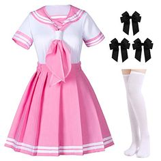 Elibelle Classic Japanese Anime School Girls Pink Sailor Dress Shirts Uniform Cosplay Costumes with Socks Hairpin Set Anime Cosplay Costumes, Cosplay Outfits, Anime Outfits, Cool Outfits, Fashion Outfits, Anime School Girl, School Girl Outfit, School Uniform Anime, Sailor Outfits