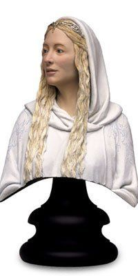 """Lord of the Rings - Lady Galadriel 1:4 Scale Polystone Bust by Not Specified. $134.95. Tall, wise and beautiful, the Lady Galadriel was the last of the great Elves of old to linger in Middle-earth. Blessed with great foresight, her counsel and safe shelter were sought by the Fellowship on their journey. Her haven-home, the forest kingdom of Lothlrien, afforded them an all too brief respite from their perilous quest. Product Size: 8"""" H (203.2mm) Product Weight: 3.00 lb..."""