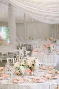 Pretty peach and blush wedding reception // #modwedding