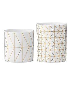 Look at this #zulilyfind! White & Gold Ceramic Votive Holder & Tealight Holder #zulilyfinds
