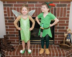 Peter Pan and Tinkerbell sibling Halloween costumes
