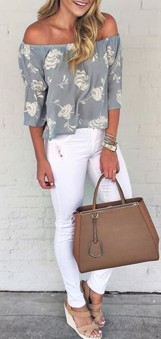 White pants, off the shoulder top,. Classic chic