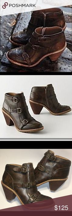 """NEW $198 Anthro Schuler & Sons Times Three Booties NEW $198 Anthropologie Schuler & Sons of Philadelphia Times Three Booties In Size 9 with a 3.5"""" Stacked Cone Heel. A triplet of buckles, rugged lugs and mottled mahogany leather multiplies this pair's cool luggage-like metalwork and fine-tuned details. New Without Tags. Photos are main part of description. Feel free to ask questions. Thank you! Anthropologie Shoes Ankle Boots & Booties"""