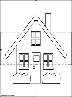 Houses 12 Printable Jigsaw to cut out 4 pieces. Activities for kids Kindergarten Addition Worksheets, Preschool Learning Activities, Preschool Worksheets, House Drawing For Kids, Busy Boxes, Printable Activities For Kids, Classroom Crafts, Math For Kids, Kids House