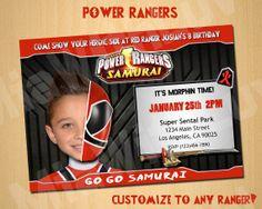 Power Rangers Samurai Birthday Invitation Invite Custom By MiaWithLuvgmail Ranger