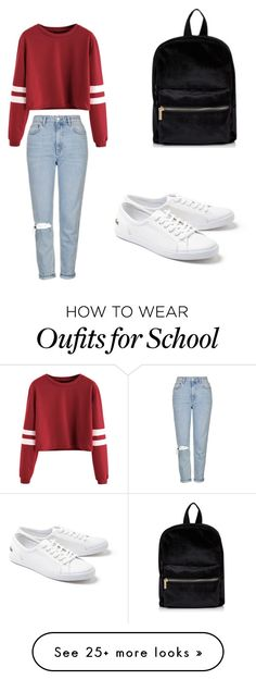 """School"" by scout92703 on Polyvore featuring Topshop and Lacoste"