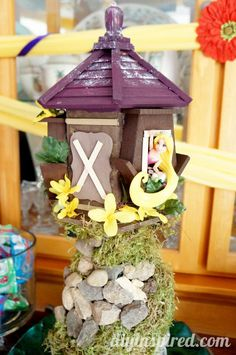 Rapunzel Tower made out of Bird houses and Milk Cartons plus other Birthday Party Ideas