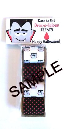 DRACULA Halloween Chocolate Nugget Wrappers, Topper and Tray Set Halloween - Treat Box - Halloween Treat Bags and boxes - Party Favors