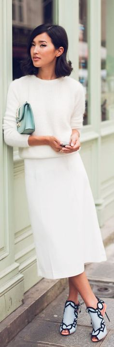 Liking the white elegant outfit with the statement heels. #shoes #style #fashion Gary Pepper by Gary Pepper