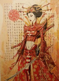 - By Olivier Ledroit [=> www. Amaterasu, Character Concept, Character Art, Concept Art, Character Design, Illustrations, Illustration Art, Female Samurai, Fantasy Samurai