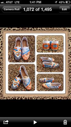 I would love these!!  Hand Painted OKC Thunder Toms by LeopardStudios on Etsy, $105.00