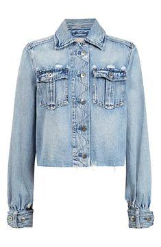 Cropped Denim Jacket, Shirt Jacket, Denim Shirt, Allsaints Looks, Boys T Shirts, Coats For Women, Winter Jackets, Model, Gardening