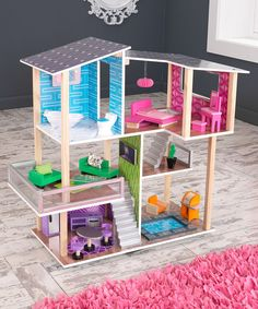 This Modern Living Dollhouse Set by KidKraft is perfect! #zulilyfinds