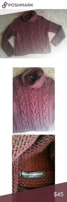 """Brandy Melville cowl neck sweater Brandy Melville cowl/turtleneck sweater, """"one size."""" Super cozy, perfect for sweater weather! Maroon color. Brandy Melville Sweaters Cowl & Turtlenecks"""