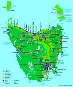 Map of Tasmanian major roads Tasmania Road Trip, Tasmania Travel, Travel Oz, St Columba, Bruny Island, Australia Map, Australian Holidays, Scenery, Places To Visit