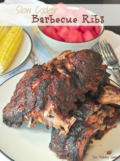 Slow Cooker Barbecue Ribs {The Mommy Games} Sticky. Saucy. Fall-off-the-bone Delicious!